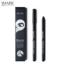 Imagic caneta delineadora em gel preta 1 peça, maquiagem à prova d'água de longa duração, ferramenta cosmética de beleza + afiador de lápis