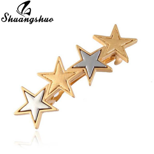 Shuangshuo Fashion Two Colors Gold And Sliver Star Hair Clips Barrette  Hairpin Delicate Star Hair Pins d66a7c80dcbe