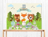 Custom Jungle Animal Cute Forest Fox Bear Green Tree Owl Clouds Zoo backdrop Computer print party background