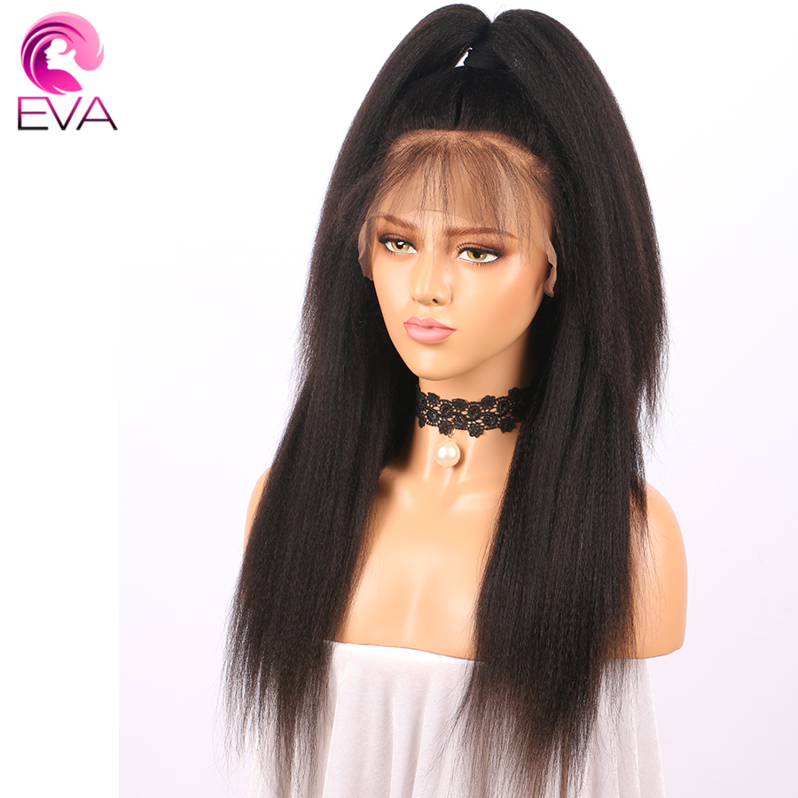 Eva Kinky Straight Full Lace Human Hair Wigs Pre Plucked With Baby Hair Glueless Full Lace Wigs For Women Brazilian Remy Hair