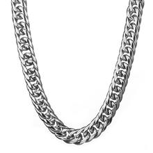 Granny Chic 18mm 7-40Inch Top Quality 316L Stainless Steel Necklace for Men Silver Color Curb Cuban Link Mens Chain