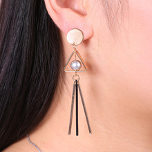 Europe and America hot exaggerated three-dimensional geometric retro temperament hollow triangle pearl earrings