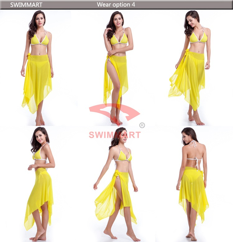 32c53107360218 Summer Pareo Beach Sarongs Multi Wear Mesh Swimwear Beach Skirt ...