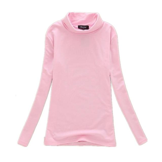 a79091d46df99e Hot Sale! New Fashion Women Turtleneck Long Sleeve T Shirts Women's Warm Top  Milk Silk Fleece Base Shirt For Women