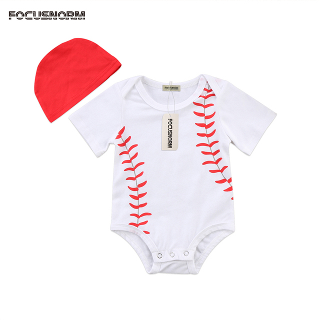 b58887b67 Baseball Bodysuits Newborn Infant Toddler Boy Girl Baby Outfits Set ...