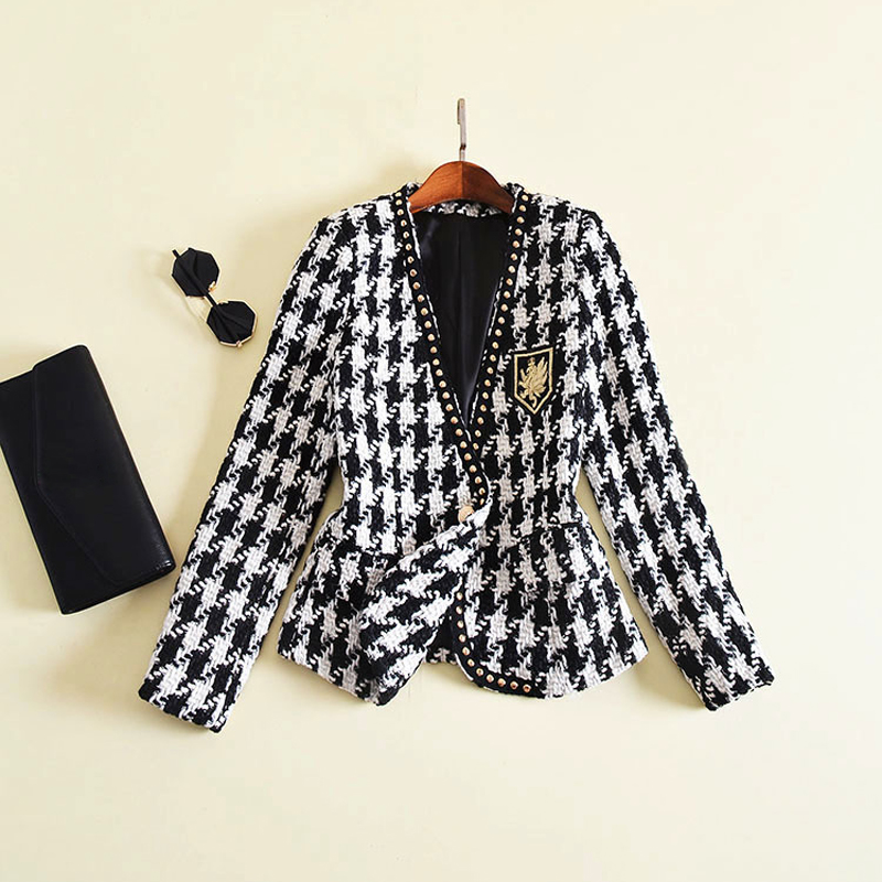 New Fashion Runway 2019 Designer Jacket Women s Long Sleeve Badge Embroidery Rivet Houndstooth Tweed Jacket