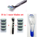 10 in1 Men Shaving Set 8 pcs Blue 3 Razor Blades & 1 Razor Holder&1 Case Cassette Trimmer Men Safety Razor Set Shaver Blades Hot