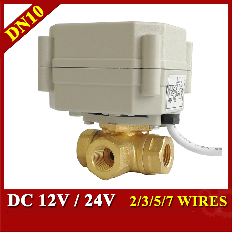 Tsai Fan 12V 24V Electric Valve 3 Way Brass DN10 3/8'' Horizontal T/L Port Motorized Ball Valve 2/3/5/7 Wires Metal Gear