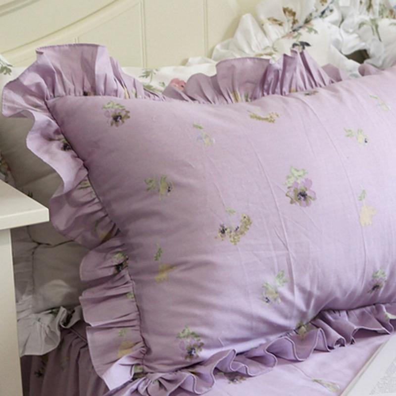 100% coton violet moderne volants français chic dentelle taies d'oreiller décoratives taie d'oreiller sham style classique britannique américain