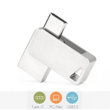 360 Rotation Type C USB 3.0 Flash Drive 64GB 32GB 16GB 128GB Pendrive 3.0 Real Capacity For Huawei Samsung Type C Flash USB 1