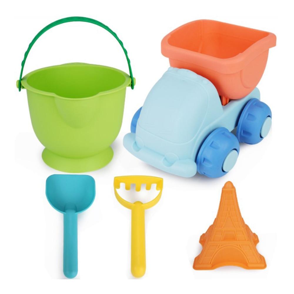 5pcs Soft Silicone Beach Sand Toys For Children Sandbox Set Sea Sand Bucket Rake Play And Fun Shovel Moldes Summer