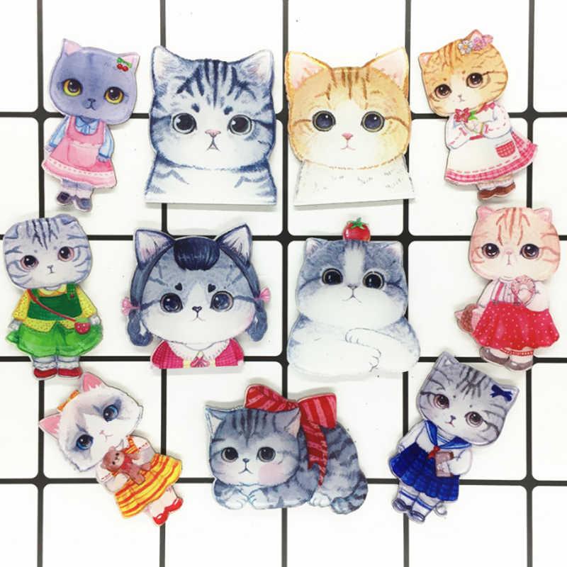 Baru Lnrrabc Fashion Kartun Hewan Kucing Enamel Bros untuk Wanita Anak-anak Bros Perhiasan DIY Hijab Kerah Pin Pakaian Ornamen