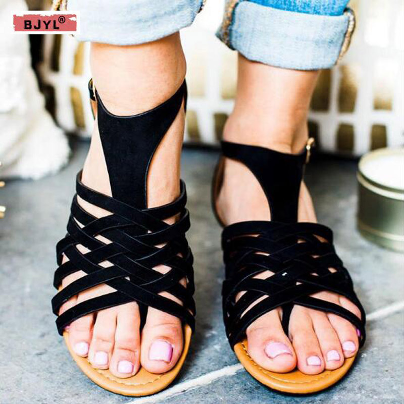 Shoes Bjyl 2019 Fashion Women Flat Sandals Wild Thick Bottom Sandals Platform Summer Shoes Woman Female Casual Open Toe Sandals B102 Middle Heels