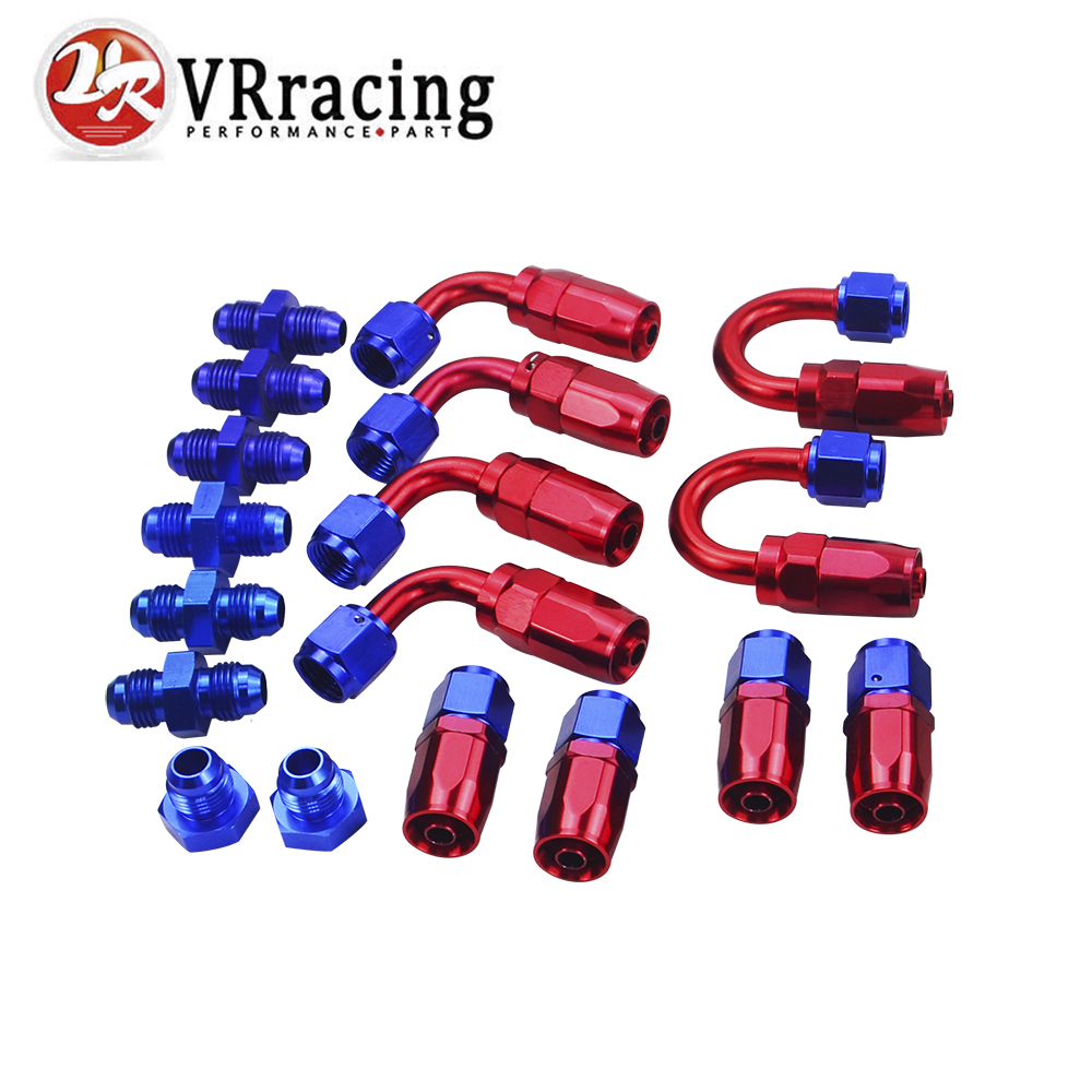 VR - 6 AN AN-6 Straight / 90 /180 Degree Aluminum Swivel Hose End Fitting Adapter Oil Fuel Line + AN6 PORT PLUG VR-SL10AN6-RB