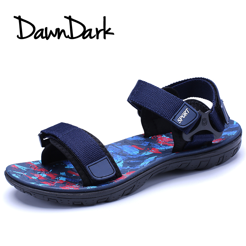 Men Sandals Leather Soft Spring Summer Male Casual Beach Footwear Red Blue Man Fashion Walking Shoes