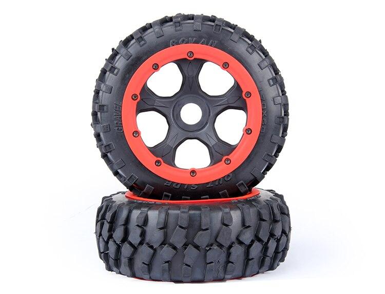 Front gravel tyres with new wheel hub fit 1/5 hpi baja 5b Rovan KM truck rc car parts 1 5 rc car car shell kit fit hpi rovan baja ft parts