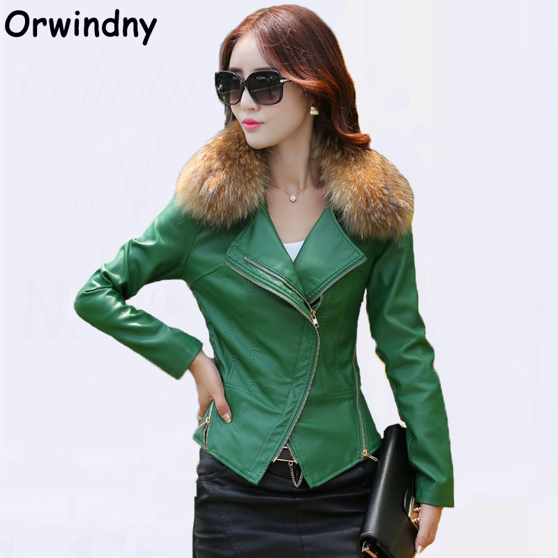 Orwindny Motorcycle   Leather   Coat S-4XL Spring Women   Leather   Jacket Outerwear With Real Fur Collar 2018 New Slim Female   Suede