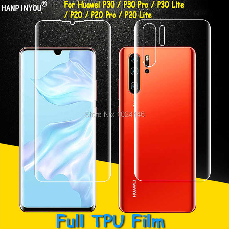 Front/Back Full Coverage Clear Soft TPU Film Screen Protector For Huawei P30 P20 Pro Lite ,Cover Curved Parts Not Tempered Glass