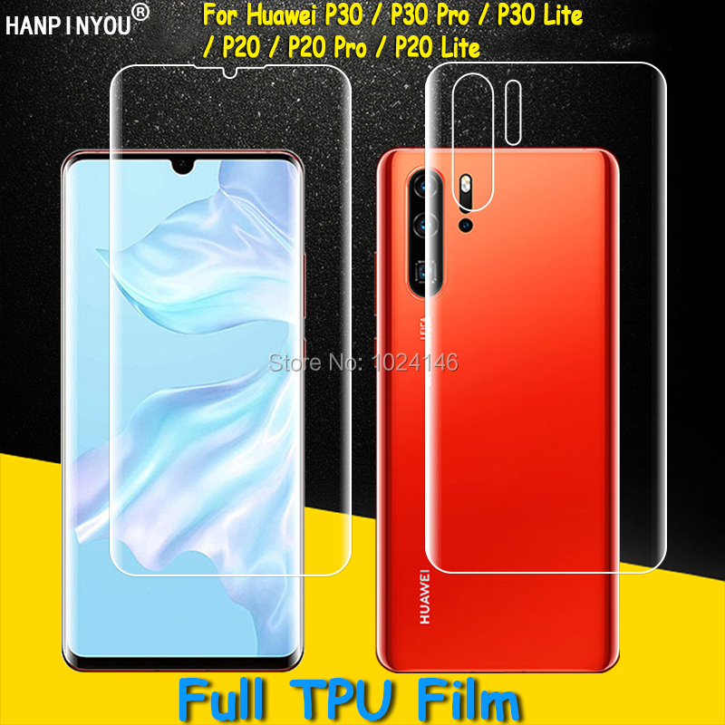 Front/Back Full Coverage Clear Soft TPU Film Screen Protector For Huawei P30 P20 Pro Lite ,Cover Curved Parts Not Tempered GlassFront/Back Full Coverage Clear Soft TPU Film Screen Protector For Huawei P30 P20 Pro Lite ,Cover Curved Parts Not Tempered Glass