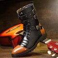 Слау 2016 Теплая Осень Зимние Ботинки Мужчины Кожаные Сапоги Панк заклепки Пряжки Звезда Моды Британский Стиль Мужской Обуви Высокие Сапоги L101013