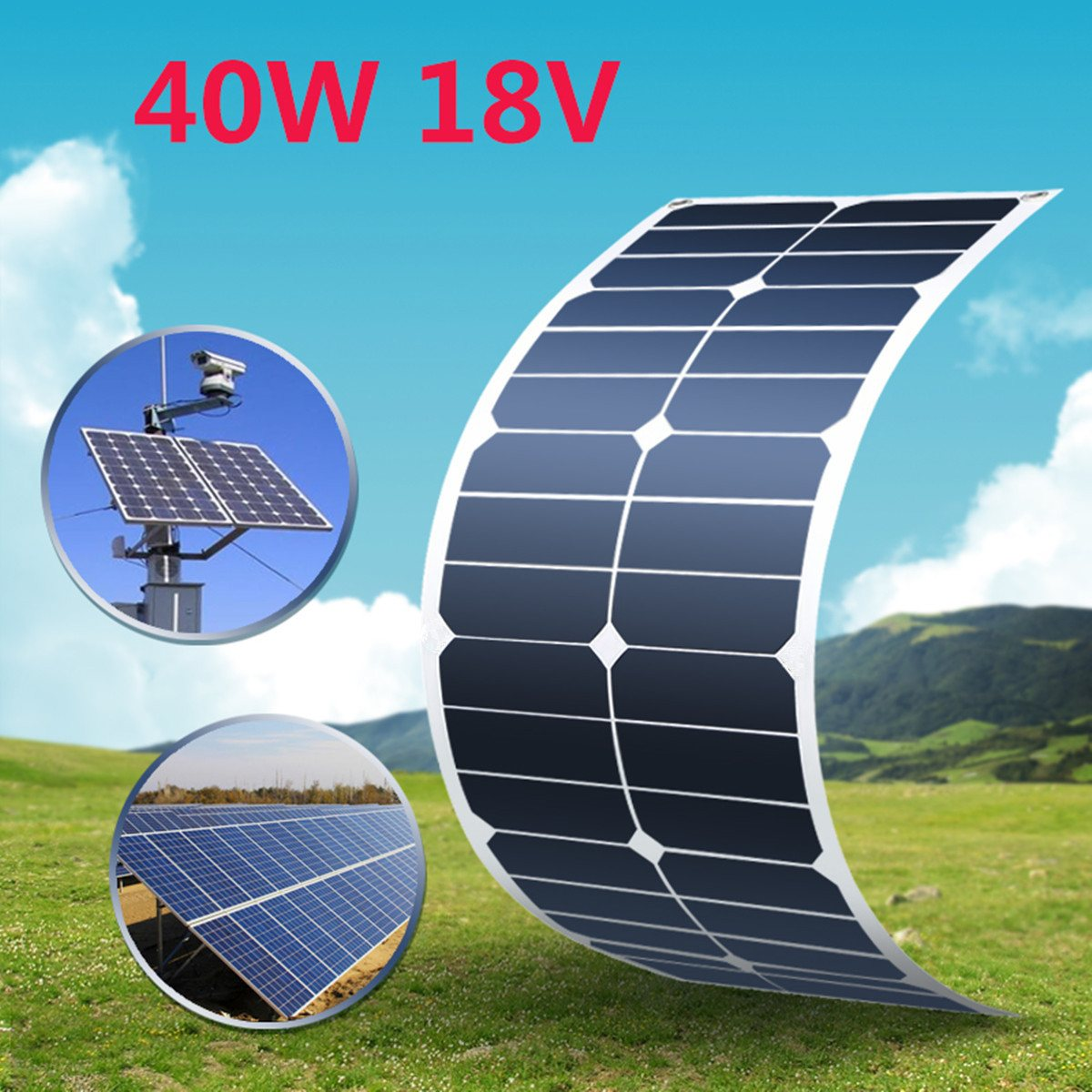 KINCO 40W/18V Semi-Flexible Solar Panel Monocrystalline Silicon Solar System Power Supply For Car Charger +MC4 Connector Cable