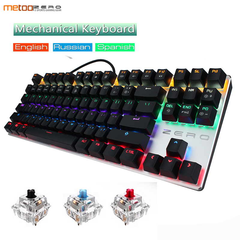 все цены на Gaming Mechanical 87/104 Keyboard Anti-ghosting Luminous Blue Red Black Switch Backlit LED wired Russian/English/Spanish/Hebrew онлайн