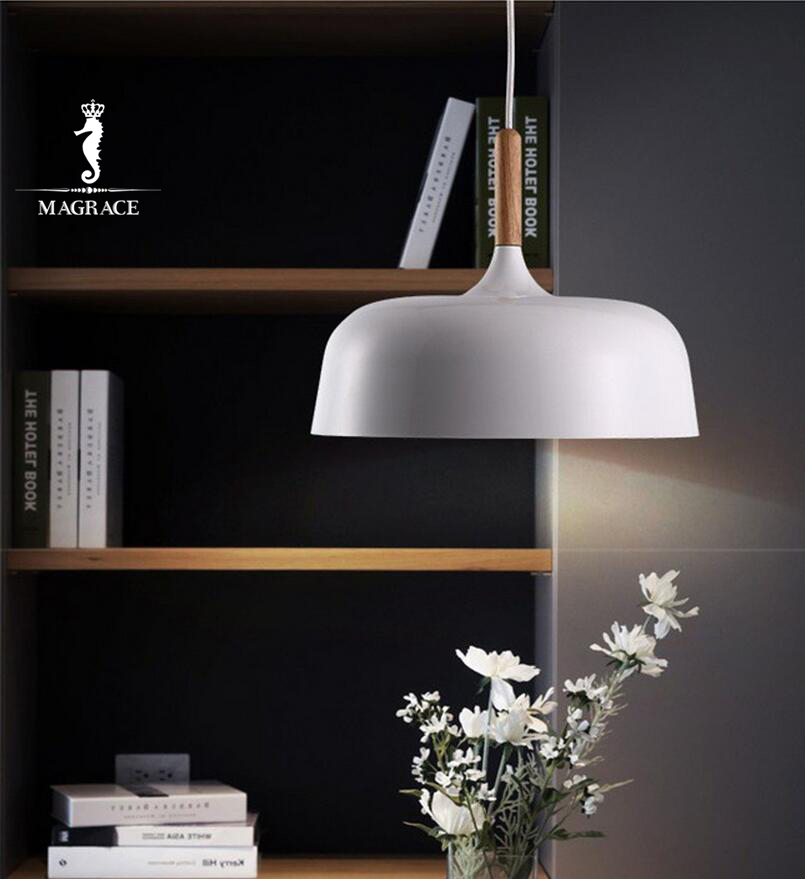 Modern Pendant Light Japan Style Suspension Luminaire Hanging Lamp  Vintage Pendant Lamp Rustic Wood Light Aluminium Lampshade