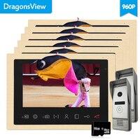 Dragonsview AHD 960 P видео домофонный дверной звонок домофоны для частных домов 10 дюймов 6 внутренних мониторов 2 наружных камер запись ИК