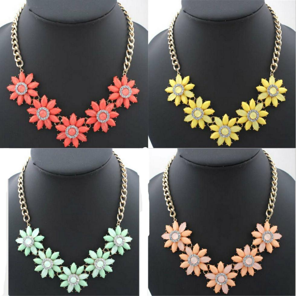BONLAVIE Statement Flower Doll Necklace Dress Handmade Chrysanthemum Pendant 2017 News Alloy Girl/Women Flower Fashion Jewelry