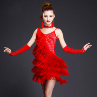 red latin dance costumes women salsa dancewear dance costume dresses ballroom competition dresses tango adult fringe gold sequin