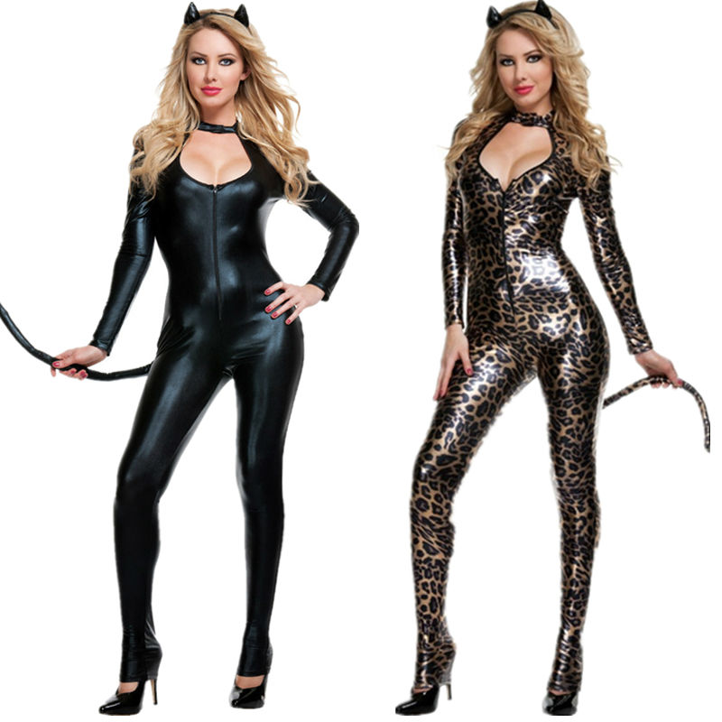 new sexy women pvc latex bodysuits jumpsuit catwoman shiny super hero black animal faux leather catsuit halloween costume - Heroes Halloween Costumes