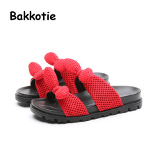 Bakkotie 2017 New Arrival Fashion Children Summer Baby Casual Shoe Black Cute Girl Slipper Bow Kid Brand Slip On Mule Mesh Red