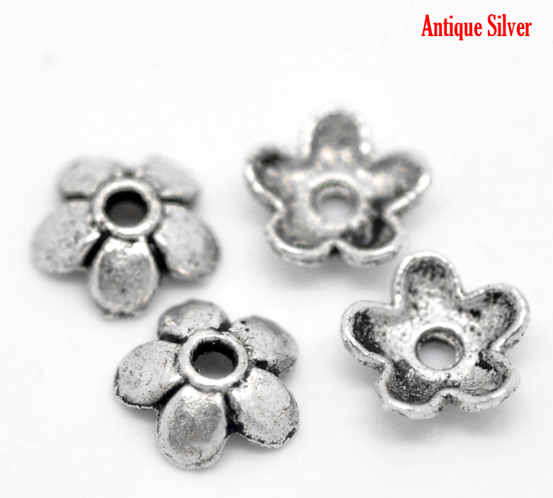 b19897 Doreen Box Lovely 300pcs Antique Silver Flower Bead End Caps Findings 6mmx6mm 2/8x 2/8