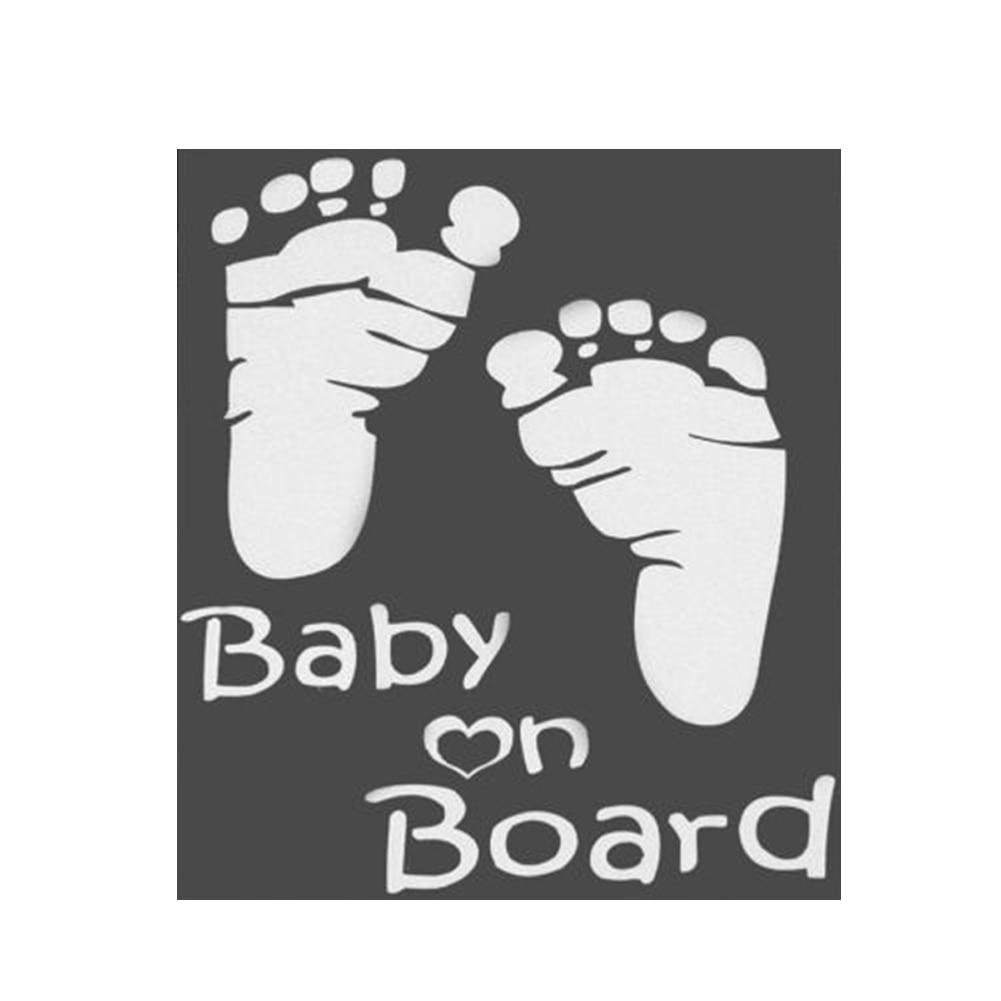 Cute Footprint Baby On Board Car Sticker Vinyl Decal