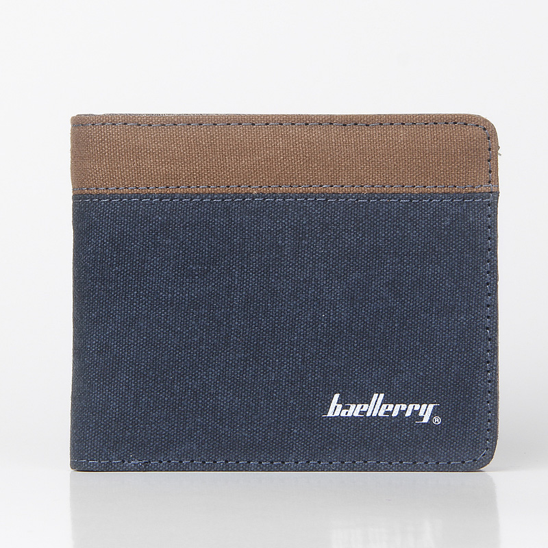 Hot Sale Fashion Men Wallets New Canvas Design Quality Blue Gray Color Casual Short Style Card Holder Purse Wallet Free Shipping
