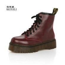 Зимние кожаные ботинки на платформе с круглым носком, Ботинки martin на высокой подошве, ботильоны, обувь на плоской платформе, женская обувь