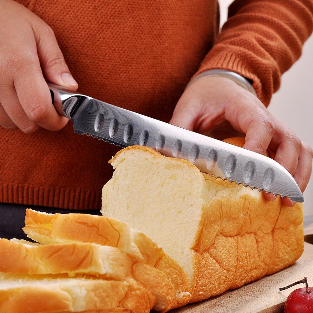 KEEMAKE nóż szefa kuchni 8 cal Nóż do chleba noże kuchenne japoński damaszek VG10 stali nierdzewnej ostre ostrze maszynki do golenia ciasto cięcia narzędzia G10 uchwyt w Noże kuchenne od Dom i ogród na  Grupa 2