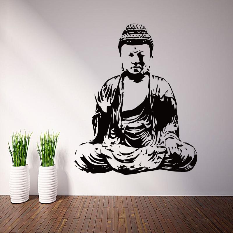 Umění nový Design domu výzdoba Vinyl Buddha náboženství Nástěnné obtisky odnímatelné barevné domácí dekorace levné PVC buddhismus místnost nálepka