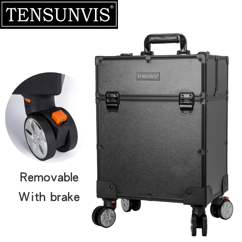 TENSUNVIS Black 4 Rolling Wheel MDF Artist Makeup Cosmetic Train Case Lockable Box Rolling Trolley Cosmetic Case tensunvis makeup case aesthetic black professional universal wheels trolley cosmetic box makeup case the best beauty case black
