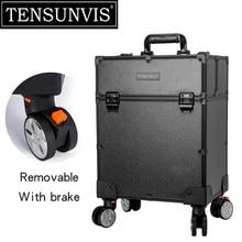 TENSUNVIS Black 4 Rolling Wheel MDF Artist Makeup Cosmetic Train Case Lockable Box Trolley