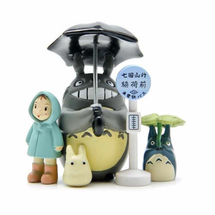 Studio Ghibli Meu Vizinho Totoro Guarda-chuva Conjunto Modelo de Ação PVC Toy Figuras Mei Bonecas Figurinhas Gnome Terrário Mini Decoração Do Jardim
