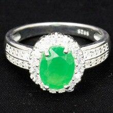Real 4.1g 925 Plata Esterlina Sólida Elegante Real Verde Esmeralda, blanco CZ Anillo EE.UU. sz 8 #13x12mm