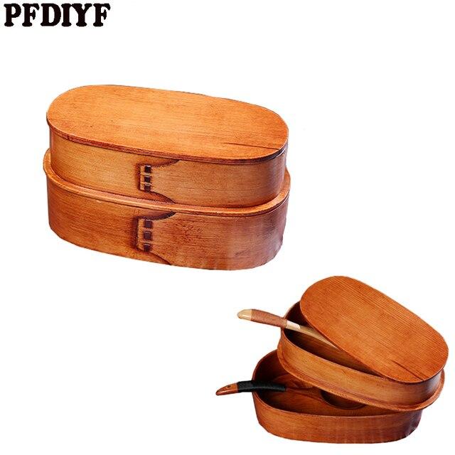 Натуральный деревянные японские Коробки для обедов двойной Слои Bento box Пикник Детские школьные посуда Еда контейнер для хранения