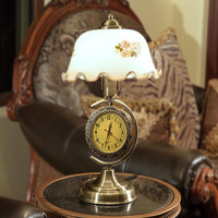 Table Lamp Led Desk With Clock Retro Desktop Vintage Furniture Shade Lighting Chinese Style Decoration Bronze