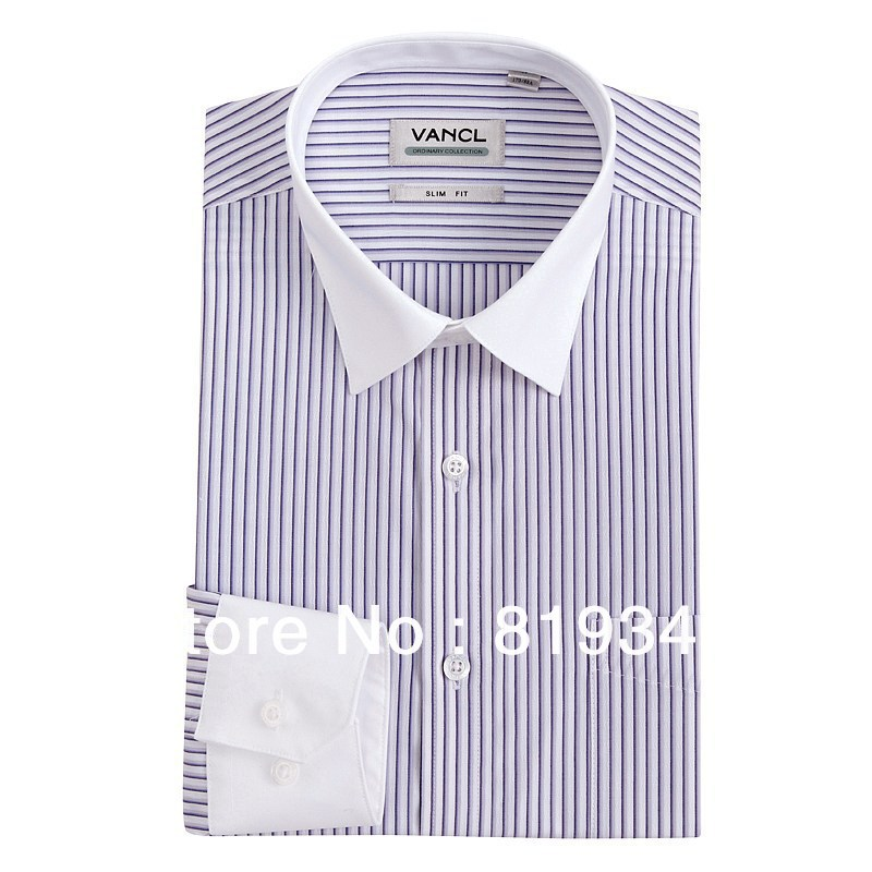 VANCL Men Striped Shirt White Turn-down Collar Long Sleeve Shirt Fashionable Style Well-dressed Shirt Multi Colors FREE SHIPPING