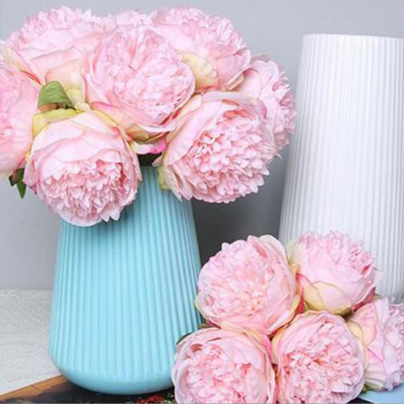 Artificial Flowers Peony 5 Heads Bridal Bouquet Office Table Decor Silk Flowers Simulation Flower Wedding Party House Decor #63