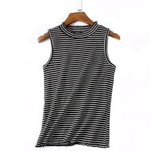Korean Fashion Women Striped Tops Summer Sleeveless Turtleneck Tanks High Quality font b Slim b font