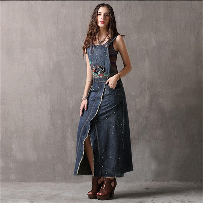 Vintage Summer Dress 2018 New Denim Strap Vestidos Sleeveless Slash Neck Vintage Embroidery Slit Sundress Woman