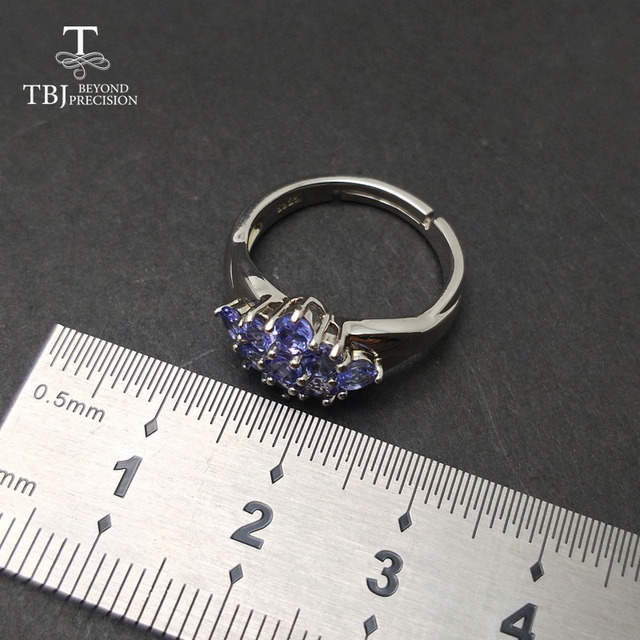 TBJ,Romantic small ring with natural Good color blue Tanzanite gemstone girl Ring in 925 sterling silver fine jewelry for women