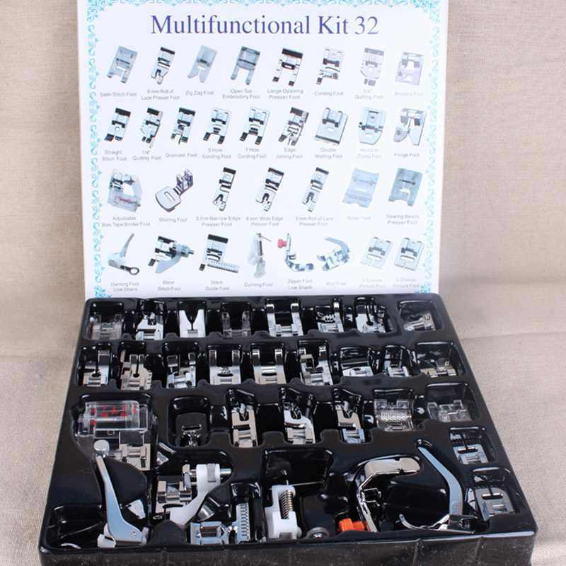Domestic Sewing Machine Presser Foot Feet Kit Set With Box Brother Singer Janom Sewing Machines Foot Tools Accessory Sewing Tool
